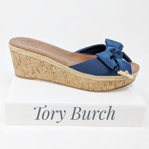 TORY BURCH Penny bow wedge slide sandal navy blue